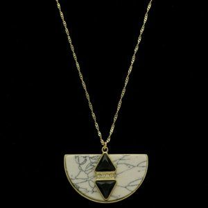 """Express gold and """"marble"""" long pendant necklace"""